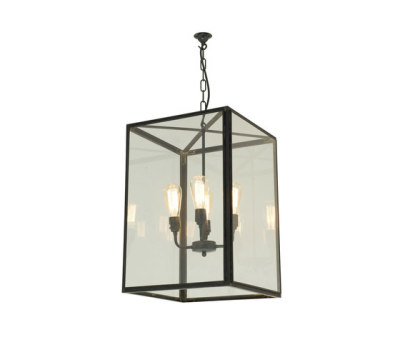 7639 Square Pendant, External Glass, XL & 4 L/holders, Weathered Brass by Davey Lighting Limited