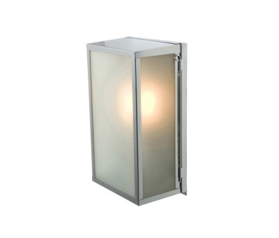 7645 Box Wall Light, Internal Glass, Medium, Satin Nickel, Frosted Glass by Davey Lighting Limited