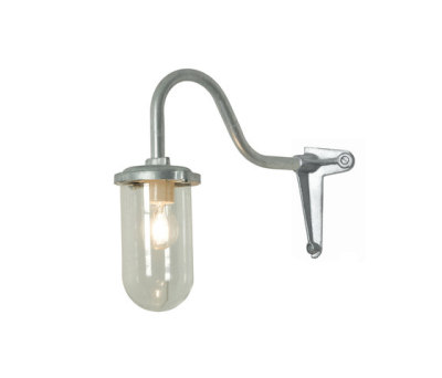 7672 Bracket Light, 100W, Corner, Swan Neck, Galvanised, Clear Glass by Davey Lighting Limited