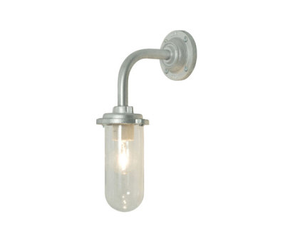 7672 Bracket Light, 60W, Round Backplate, Galvanised, Clear Glass by Davey Lighting Limited