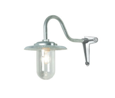 7677 Exterior Bracket Light, 100W, Swan Neck, Corner, Galvanised, Clear Glass by Davey Lighting Limited