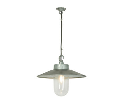 7680 Well Glass Pendant With Visor, Galvanised, Clear Glass by Davey Lighting Limited