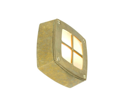 8140 Wall Light Square, Cross Guard, Brass by Davey Lighting Limited