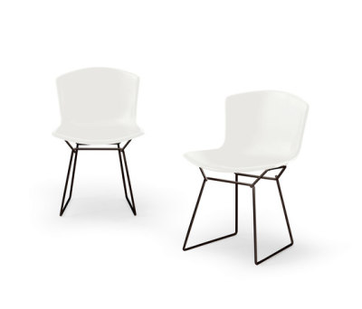 Bertoia Plastic Chair Set of 2 - White Shell and Black Base