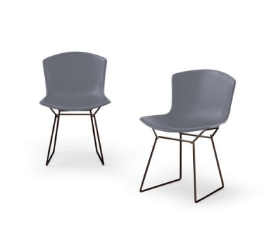 Bertoia Plastic Chair Set of 2 - Medium Grey Shell and White Base