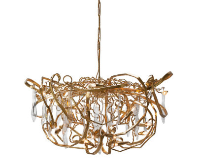 Delphinium customised gold chandelier by Brand van Egmond