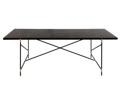 Dining Table 230 BRASS on BLACK - Black Marble by HANDVÄRK