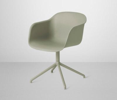 Fiber Armchair | swivel base Dusty Green