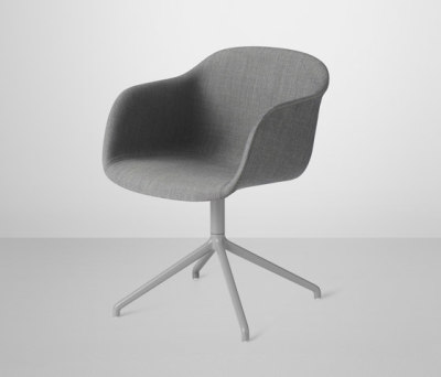 Fiber Armchair | swivel base upholstered black Remix 133 / Grey