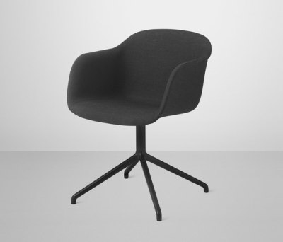 Fiber Armchair | swivel base upholstered black Remix 183 / Black