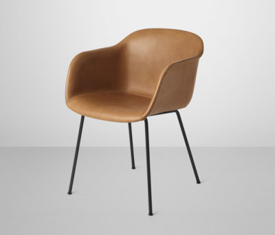 Fiber Armchair | tube base leather Silk Cognac/Black