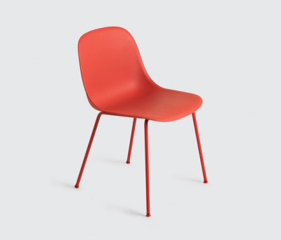 Fiber Side Chair | tube base Dusty Red/Dusty Red