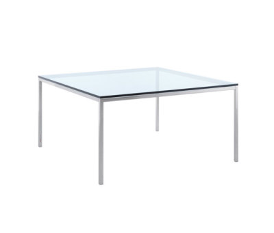 Florence Knoll Square Tables Chrome Finish 140cm W x 140cm D x 72cm, Clear Glass Top