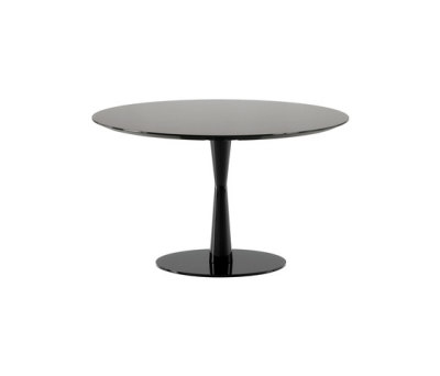 Flute table Ø 125cm,91 carbone glossy lacquered color