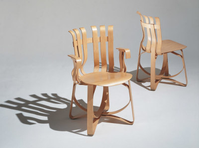 Gehry Hat Trick Chair white maple veneer strips