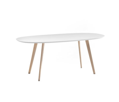 Gher h74 Oval top by Arper L0020 Legs, MDF MD cm 200x110 White Top