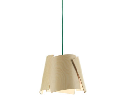 Leaf 28 pendant in birch/ green cable by Bsweden