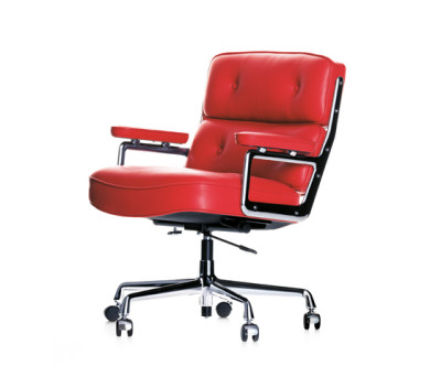 Lobby Chair ES 104 Hard castors braked for carpet, Leather 70 red