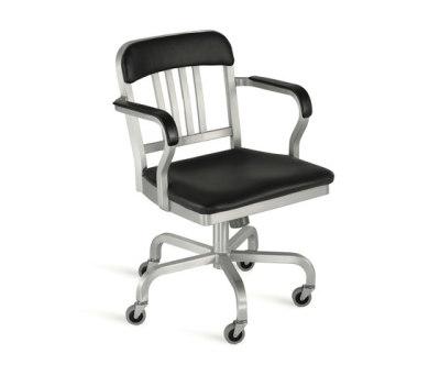 Navy Semi-upholstered swivel armchair Hand-brushed