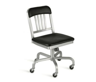 Navy Semi-upholstered swivel chair Hand-brushed