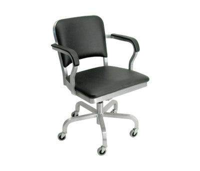 Navy Upholstered swivel armchair Hand-brushed
