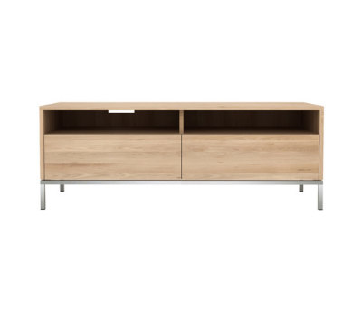 Oak Ligna TV cupboard - 2 drawers