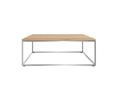Oak Thin coffee table - stainless steel frame 80 x 80 x 30 cm