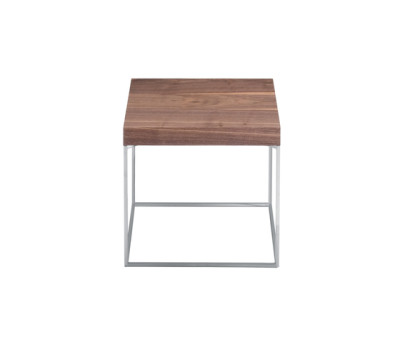 Oliver | 670 Square Side Table Canaletto Walnut Brushed Top, Chromium-plated Frame, 40 x 40