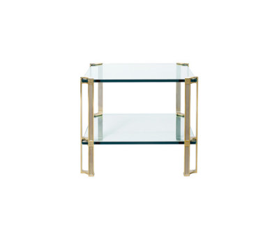Pioneer T24D Side table Glass, Brass Partially Gloss Legs