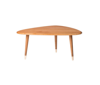 Small Coffee Table Solid Oak Top with Brass Feet by Red Edition
