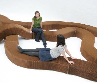 softseating | natural brown paper serpentine bench by molo