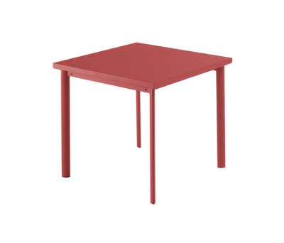 Star square table; 90cm top Scarlet Red