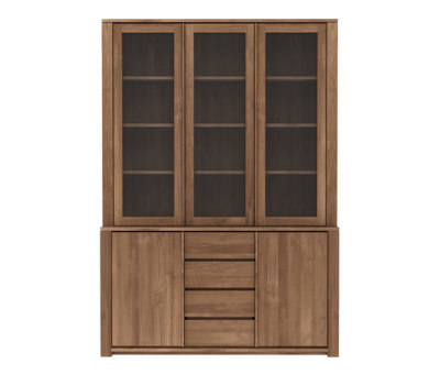 Teak Lodge cupboard - 3 glass doors - 2 doors - 3 drawers
