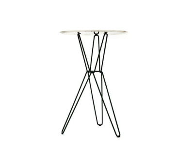 Tio Circular Bar Table Marble  Ø:75 H:110 cm Marble White Top, Black Base