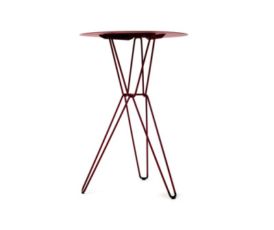 Tio Circular Bar Table Metal Ø:75 H:110 cm Wine Red - Metal
