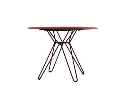 Tio Circular Dining Table Metal Ø:100 H:72 cm Wine Red - Metal