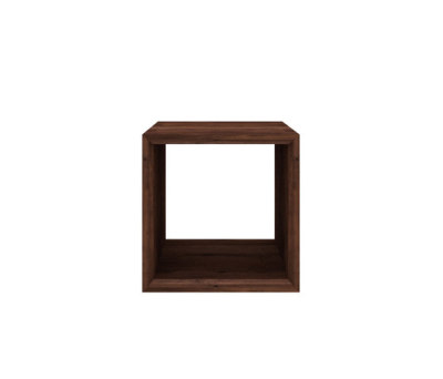 Walnut Cube closed side table