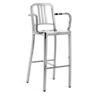 1006 Navy Barstool with Arms Hand Polished