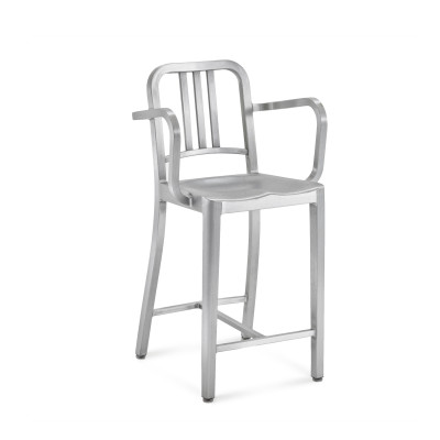 1006 Navy Counter Stool with Arms Hand Brushed