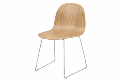 2D Sledge-base Dining Chair Oak, Chrome Base