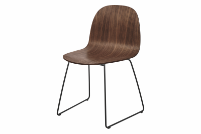 2D Sledge-Base Dining Chair - Unupholstered Gubi Wood American Walnut, Gubi Metal Black
