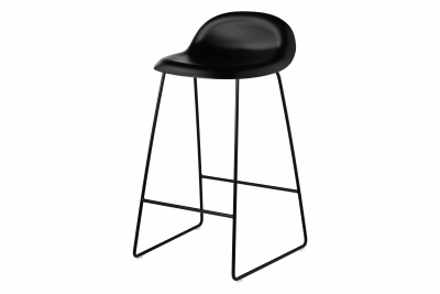 3D Sledge-base Bar Stool Black with Black Base, 65 cm Height
