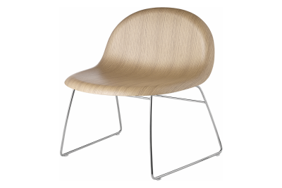 3D Sledge-base Lounge Chair Oak, Chrome Base