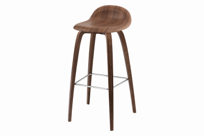 3D Wood-base Bar Stool Walnut, 75 cm Height