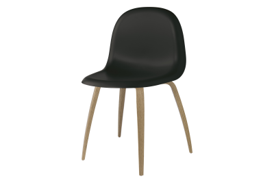 3D Wood-base Dining Chair Black, Oak Frame