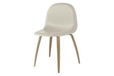 Gubi 3D Wood Base Dining Chair - Unupholstered Gubi HiRek Moon Grey, Gubi Wood Oak