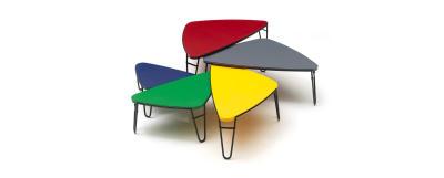 519 Petalo Occasional Table Matt Black Base, Lacquered Red Top, 115 cm