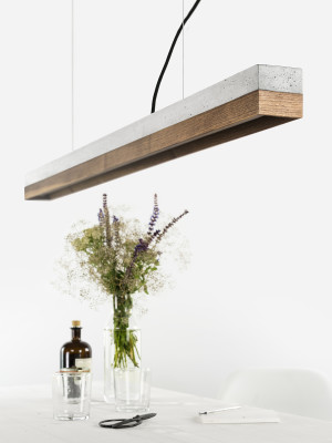 [C1] WALNUT - Dimmable LED - Concrete & Walnut Pendant Light Dimmable, Light Grey Concrete, Walnut