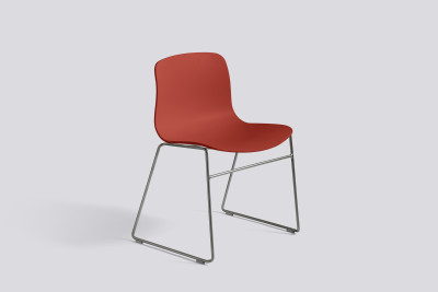 About A Chair AAC08 Warm Red Seat and Stainless Steel Base