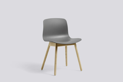 About A Chair AAC12 Concrete Grey Seat and Clear Lacquered Oak Base